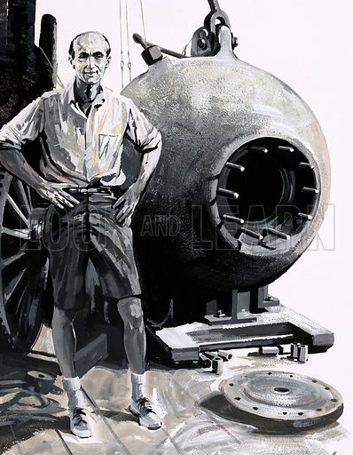 Exploring the Underwater World: Danger in the Depths. Dr William Beebe with his bathysphere.