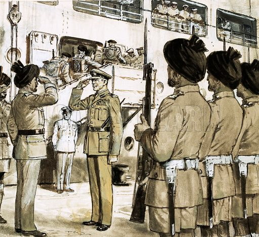 Twilight of an Empire: Divided - But Free. August 1947, the last British troops leave Bombay. Original artwork from Look and Learn no. 476 (27 February 1971).