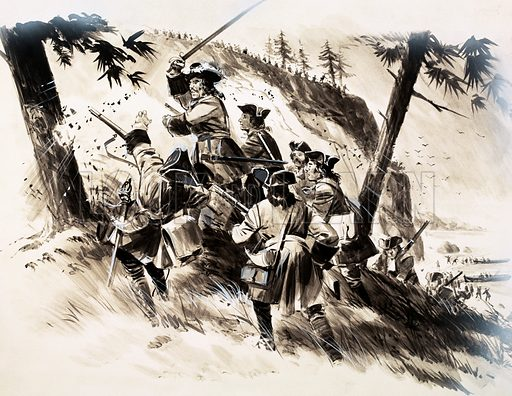 Our Strange World: Where Fact is Stranger Than Fiction. French troops storming Little Belle were faced with wooden cut-out soldiers. Original artwork from Look and Learn no. 544 (17 June 1972).