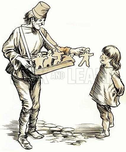 Unidentified gingerbread man seller. Original artwork.
