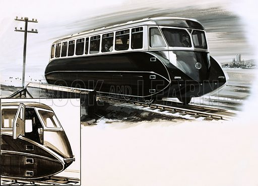 The Streamliners. Great Western Railways introduced streamlined railcars in 1934. Original artwork from Look and Learn no. 618 (17 November 1973).