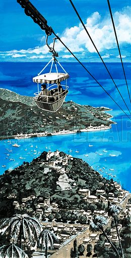 Islands in the Sun. Tourists using the cable car in the Virgin Islands get an aerial view of the harbour of St Thomas. Original artwork from Look and Learn no. 613 (13 October 1973).