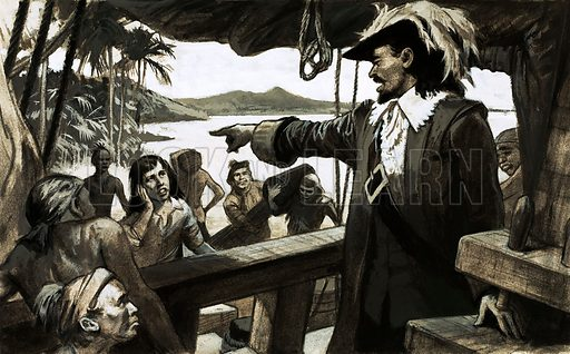 Scandal: Collapse of a Colony. William Paterson attempted to found a new trading colony on the Isthmus of Panama but disease and death soon turned the dream into despair. Original artwork from Look and Learn no. 593 (26 May 1973).