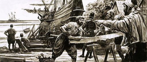Mysteries of History: The Colony That Vanished. The colonists at Roanoke were known to be alive in 1588 when a Spanish patrol boat spied activity in their shipyard; by the time John White returned in 1591, the colony had disappeared. Original artwork from Look and Learn no. 591 (12 May 1973).