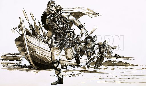 Invaders from Across the Sea. King Vortigern brought two barbarian chiefs – Hengest and Horsa – to Britain as his military allies. Original artwork from Look and Learn Book 1981.