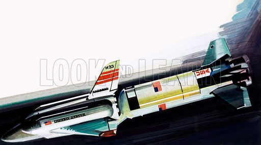 Unidentified space shuttle or rocket. Original artwork from Look and Learn Book.