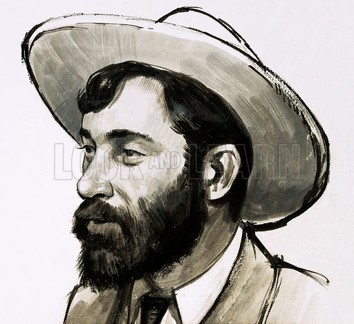 """The Treasure-Hunters: Klondike Stampede. Portrait of """"Soapy"""" Smith, a conman who worked in America. Original artwork from Look and Learn no. 459 (31 October 1970)."""