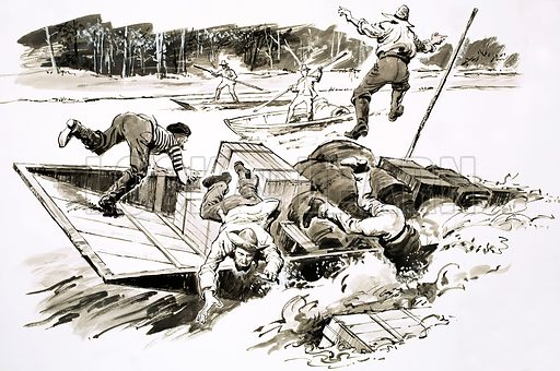 The Treasure-Hunters: Klondike Stampede. When the ice thawed on the Yukon River in 1898, thousands of Stampeders risked the rapids to reach the Klondike. Original artwork from Look and Learn no. 459 (31 October 1970).