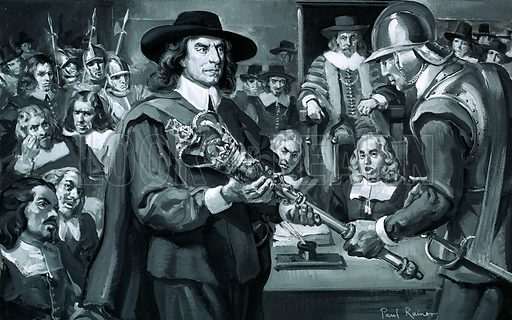 """Who Said...? """"What shall we do with this bauble? There, take it away!"""" Oliver Cromwell in the House of Commons in 1653. Original artwork from Look and Learn no. 284 (24 June 1967)."""
