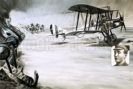 Warriors With Wings: Daredevils Over the Desert. Amongst the heroes of the Royal Flying Corps aircraft reconnaissance in the desert war against the Turks and Germans was a young Australian pilot, Lieutenant FH McNamara who earned a VC for the rescue of Captain DW. Rutherford. Original artwork from Look and Learn no. 816 (3 September 1977).