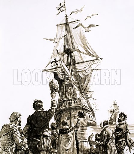 Unidentified sailing ship with crowd waving. Original artwork (dated 8/7/72).