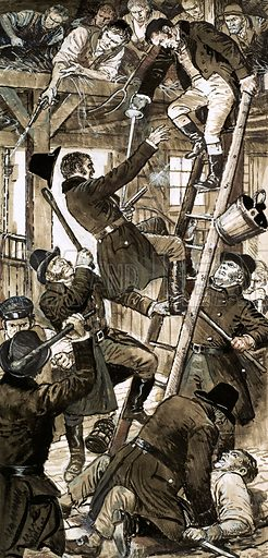 Encounter between Bow Street officers and Cato Street Conspirators on 23 February 1820. Picture shows Arthur Thistlewood, leader of the conspirators, in the act of killing officer Richard Smithers. Original artwork for Look and Learn.