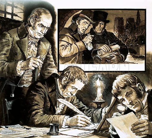 Treason: The Malet Conspiracy. To help Claude Malet overthrow Napoleon, official headed notepaper and forged documents were bought from dishonest clerks and cleaners. Original artwork from Look and Learn no. 542 (3 June 1972).