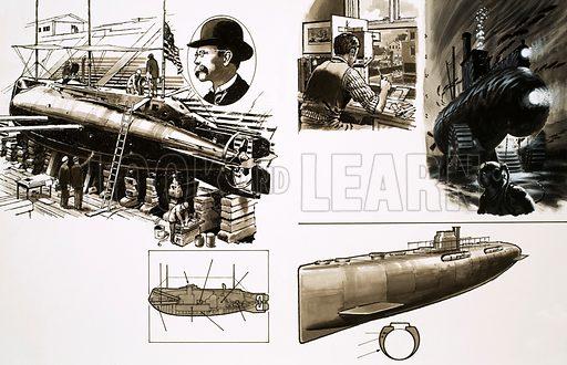 Unidentified montage of building submarines. Original artwork.