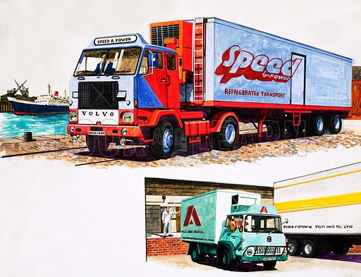 Refrigerated trucks. Original artwork for Speed and Power issue no 63 (30 May 1975).