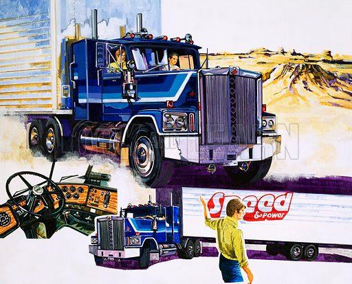 Trucks. Original artwork for Speed and Power magazine.