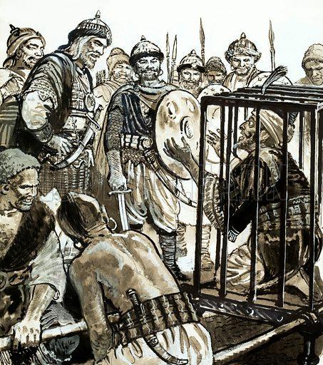 Unidentified man in a cage facing his tormentors. Original artwork.