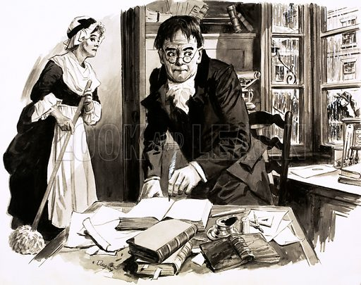 Unidentified author at his untidy desk with a maid with a mob behind him. Original artwork.