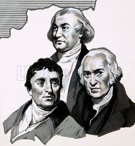 Your Heritage: The Iron Masterpiece. Portraits of Abraham Darby (top), Thomas Telford (left) and James Watt (right). Original artwork from Look and Learn no. 708 (9 August 1975).