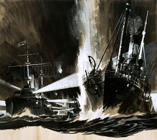 Men and Machines: The Spy Who Began a Battle. In 1904, a Russian spy in Denmark invented false information that Japanese ships were active around Denmark, almost sparking a war when Russian ships destroyed trawlers out of Hull. Original artwork from Look and Learn no. 504 (11 September 1971).