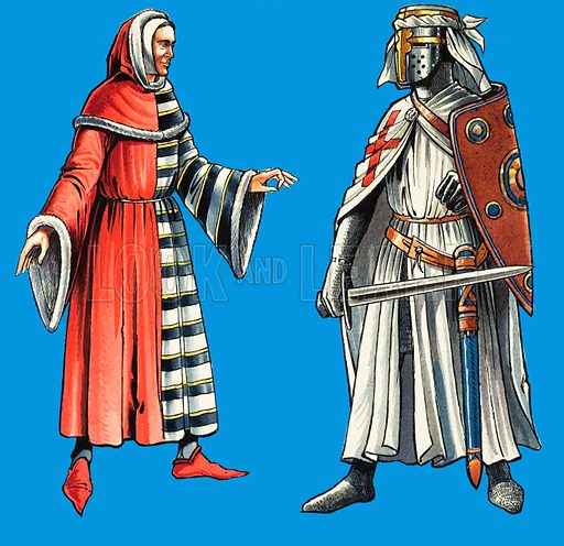 The Legal Inns of London: Chancery and Serjeants'. A costume work by serjeants-at-law (left), who were originally the servants of the Knights Templars (right). Original artwork from Look and Learn no. 460 (7 November 1970).