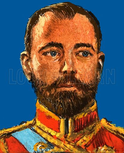 Russia's Day Of Shame. Nicholas II, the last of the Russian Tsars. Original artwork from Look and Learn Book 1983.
