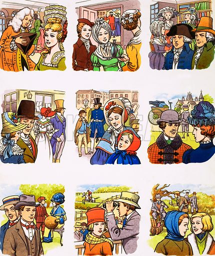 From Then Till Now: Hats and Caps. Original artwork from Look and Learn no. 13 (14 April 1962).