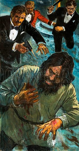 The Slaying of Rasputin. Rasputin attempts to escape, persued by the conspirators intent on his murder. Original artwork from Look and Learn Book 1982.