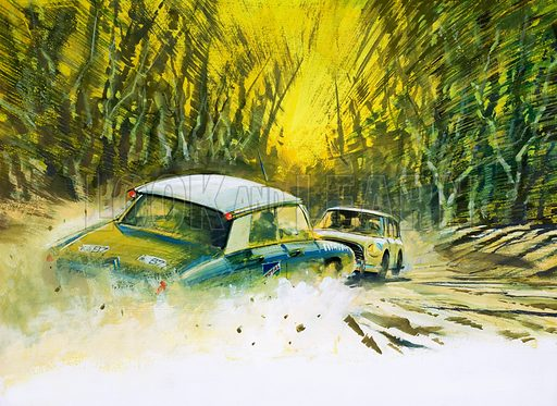 Marathon to 'Down Under'. The England to Australia Motor Rally. In 1968, Lucian Bianchi had victory in his grasp when he saw, coming towards him on the same narrow road, a Mini. Original artwork from Look and Learn Book 1977.