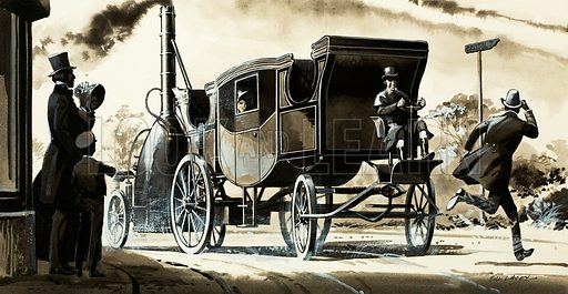Odd Inventions. A steam car from 1825. Original artwork from Look and Learn Book 1982.