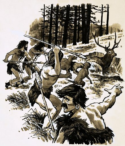 Stone-age hunters. Original artwork (L&L Book 1987).
