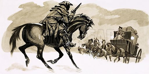 HIghwayman about to attack carriage.