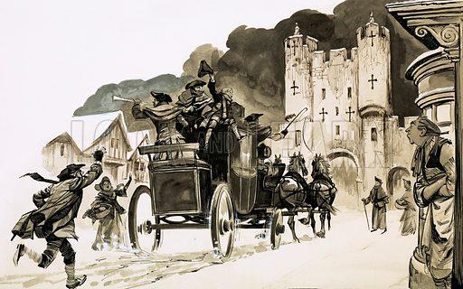 Coach entering a city.