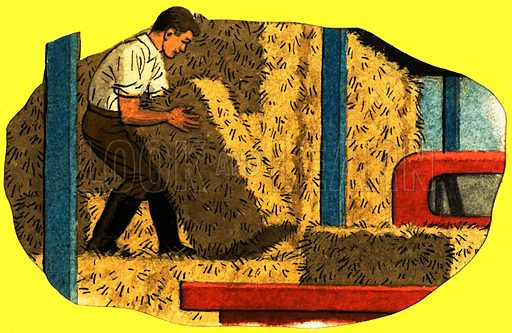 Farmer with a bale of hay. Original artwork (L&L Book 81).