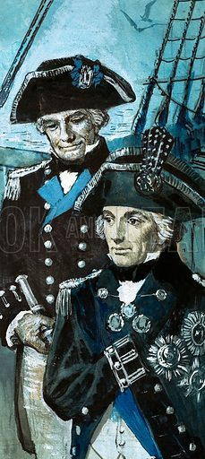Hardy – A Great Seaman and a Great Man. Hardy and Nelson. Original artwork from Look and Learn Book 1982.
