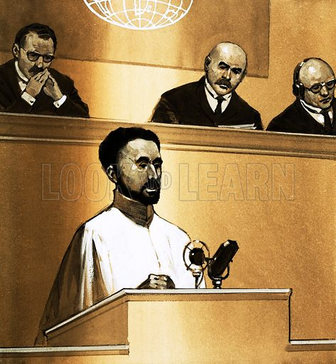 The Day That… An Emperor Regained His Throne. Haile Selassie speaks before the League of Nations. Original artwork from Look and Learn no. 563 (28 October 1972).