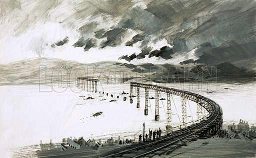 The Tay Bridge Disaster. Over 80 men, women and children were killed when the Tay Bridge collapsed in 1879. Original artwork from Look and Learn no. 524 (29 January 1972).