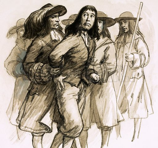 Our Island's Story: The Glorious Revolution. When James II abdicated, the hated Judge Jeffreys fled for his life. He was caught at Wapping, dressed as a sailor, and conveyed to the Tower of London. Original artwork from Look and Learn no. 1012 (1 August 1981).