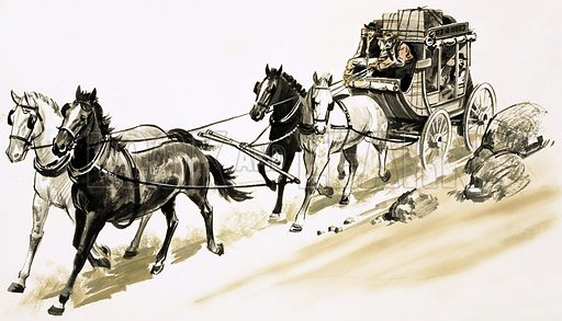 Danger Trails. A stagecoach crossing Australian desert. Original artwork from Look and Learn Book 1983.