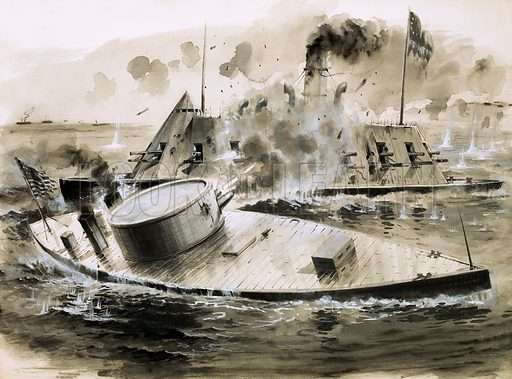Monitor versus Ram. Warships from the American Civil War. Original artwork from Look and Learn no. 203 (4 December 1965).