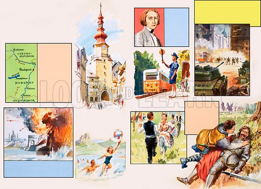 Journey down the Danube. Original artwork for Look and Learn Finding Out annual 1979.