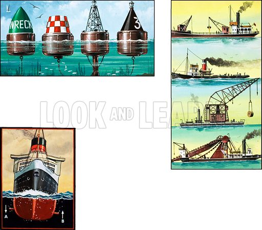 Picture Quiz -- Seen at Sea. Original artwork from Look and Learn no. 218 (19 March 1966; reused in Look and Learn Book of 1001 Questions and Answers).