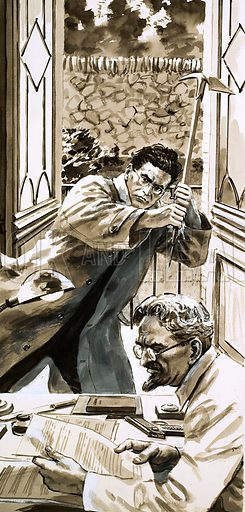 The End of an Exile. As Trotsky sat reading, Mercader took an ice pick and raised it murderously above his head. Original artwork from Look and Learn Book 1983.