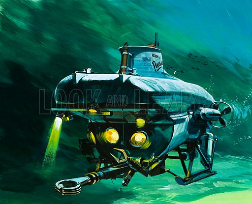 Modern Marvels: The Undersea Workhorse. The Vickers mini-sub. Original artwork from Look and Learn no. 604 (11 August 1973).