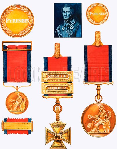 For Valour. Portrait of the Duke of Wellington (top centre); (Left, TtoB) Large Gold Medal, reverse; Small Gold Medal, obverse; Reverse of battle clasp; (Centre) Army Gold Cross; (Right, TtoB) Small Gold Medal, reverse; Large Gold Medal, obverse. Original artwork from Look and Learn no. 1025 (31 October 1981).