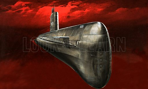 By Atom Power to the Pole. The Nautilus, the first atomic-powered submarine.