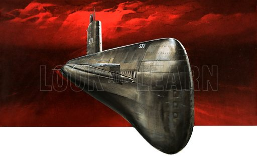 By Atom Power to the Pole. The Nautilus, the first atomic-powered submarine. Original artwork from Look and Learn Book 1984.