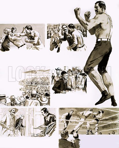 King of the Ring. John L. Sullivan, the Boston Strong Boy. Original artwork from Look and Learn Book 1981.