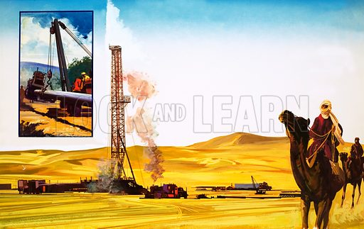 Digging for oil in the desert. Original artwork.