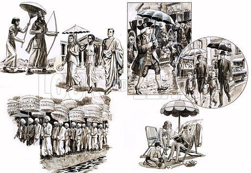 Umbrellas through the ages. Original artwork from Treasure no. 99 (5/12/64).